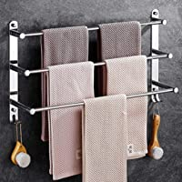 Towel Rail 3-Tier Bath Towel Rack with Hooks SUS 304 Stainless Steel Wall Mounted Towel Holder for Kitchen Bathroom…