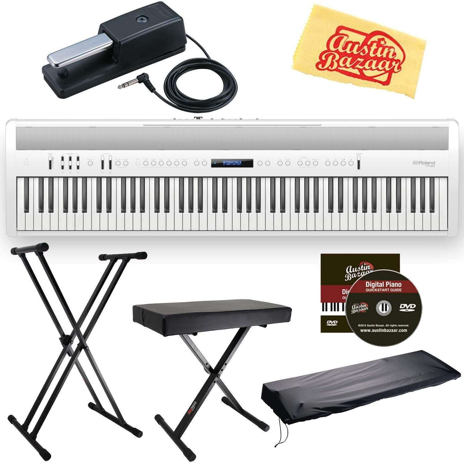 White Bundle with Roland DP-10 Damper Pedal, Adjustable Stand, Bench, Dust Cover, Austin Bazaar Instrumental DVD, and Polishing Cloth