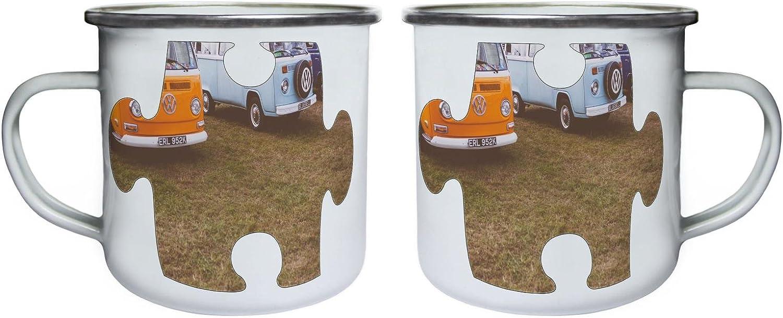 Puzzle Vintage Old Beautiful Car Picture Retro,Tin Enamel 10oz Mug e572e