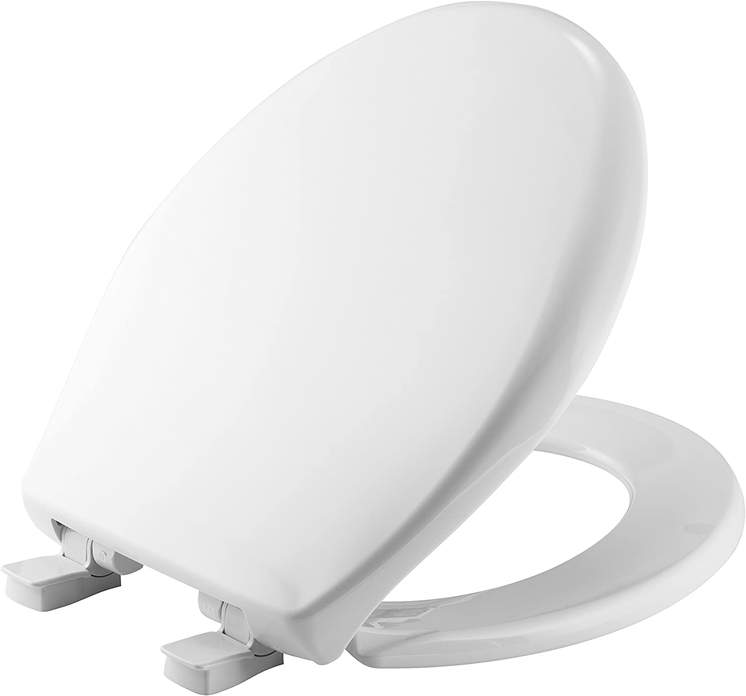 MAYFAIR Toilet Seat will Slow Close andNever Come Loose, ROUND, Long Lasting Plastic, White, 20SLOWE