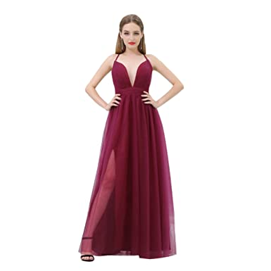 Loveinwedding Womens Burgundy Prom Dresses 2018 Cheap V Neck Formal