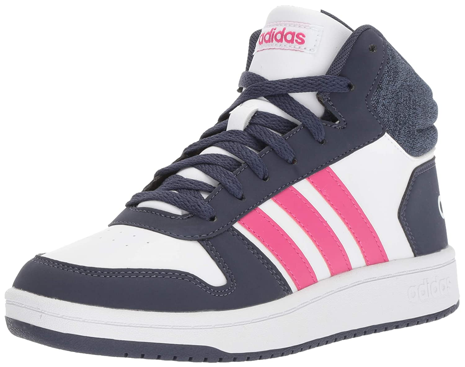 adidas Kids' Hoops Mid 2.0 Basketball Shoe, White/Real Magenta/Trace Blue, 4 M US Big Kid DB1949