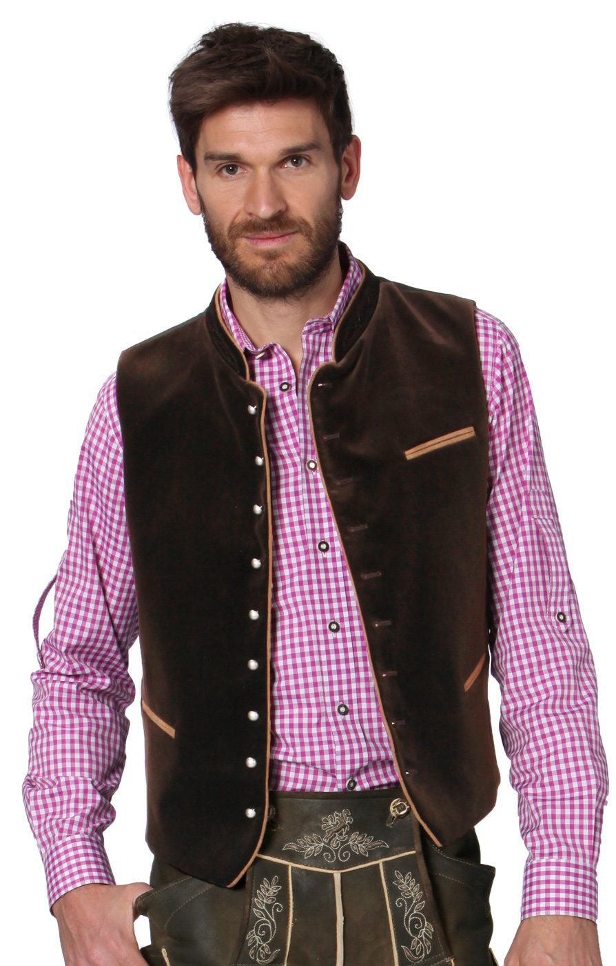 Stockerpoint Men's German Traditional Waistcoat Gilet Ricardo 42 Brown