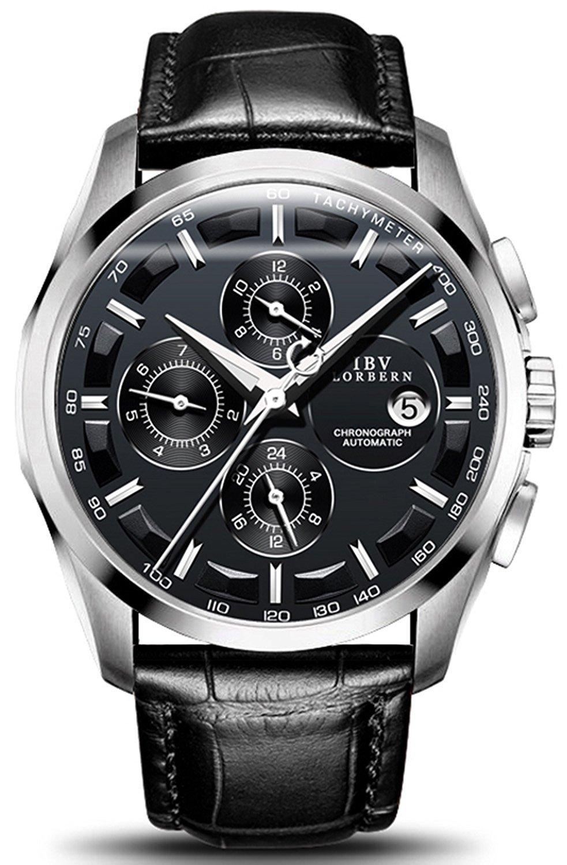 Men 's自動マシンウォッチステンレススチールケースブラウン本革バンドSwiss Automatic Watches シルバーブラック B07CP7QRWG シルバーブラック シルバーブラック