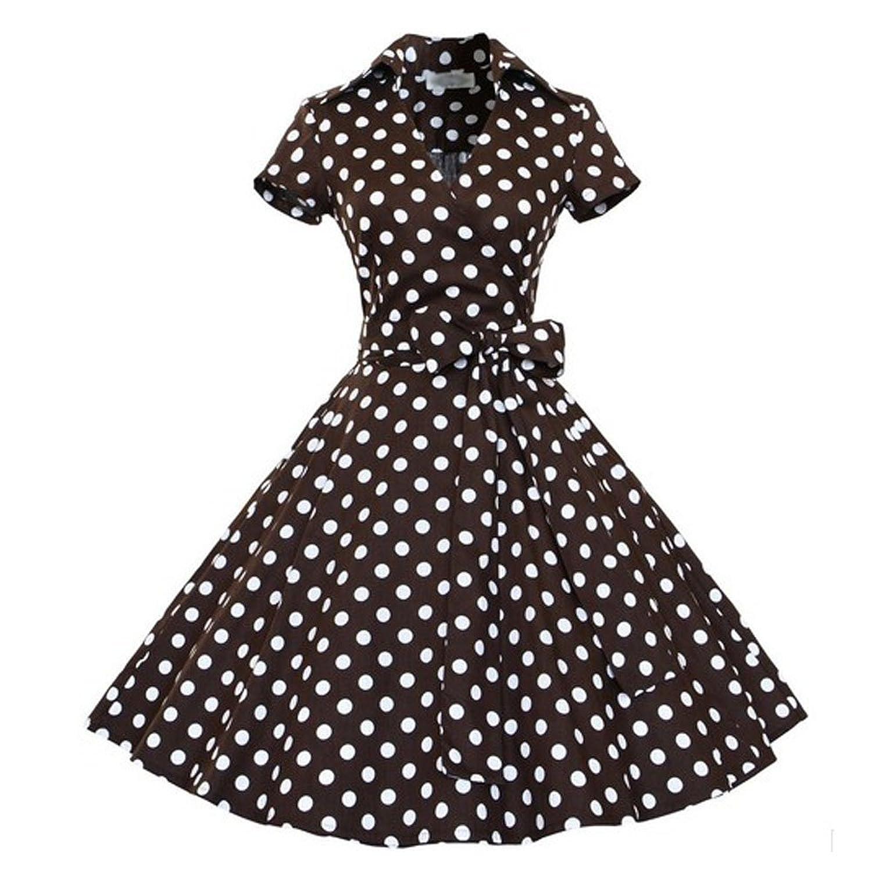 Artkingdome Hepburn Style Short-sleeved Waist Big Swing Retro Tutu dress