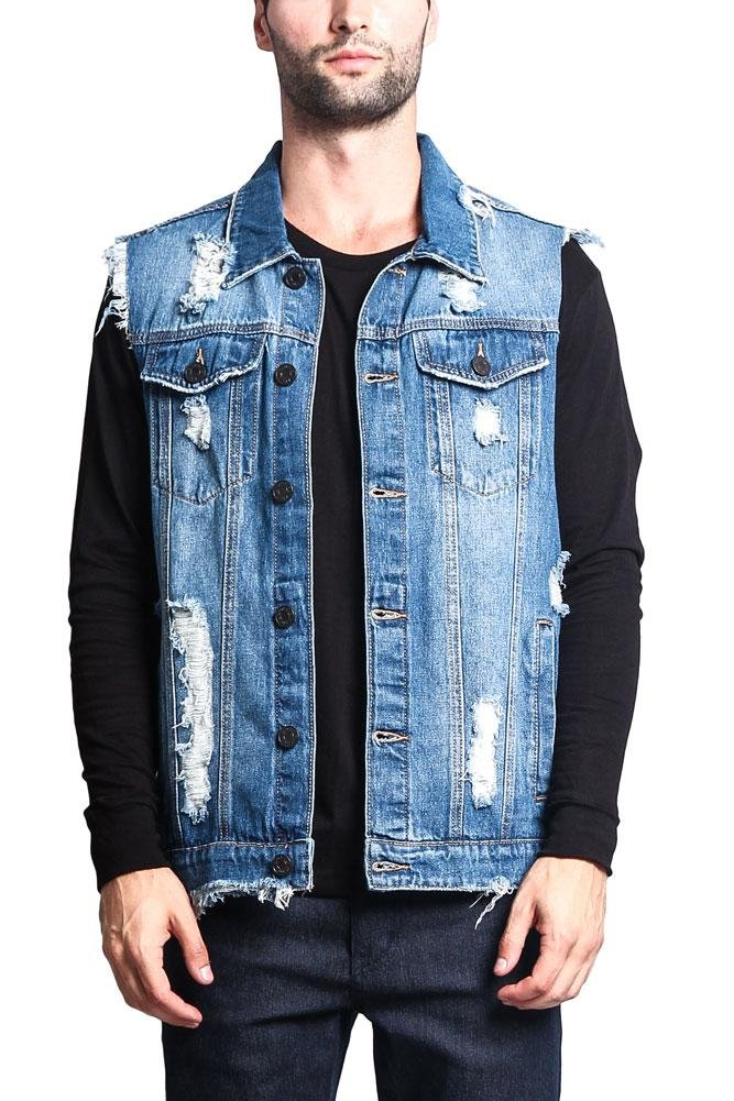 Victorious G-Style USA Distressed Denim Vest DK101 - Classic Indigo - Large - A3G