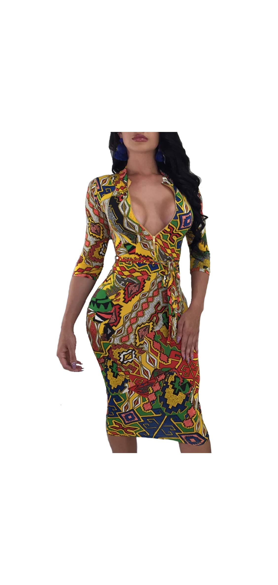 Bodycon Dresses For Women Sexy V-neck Casual Floral Juniors Midi