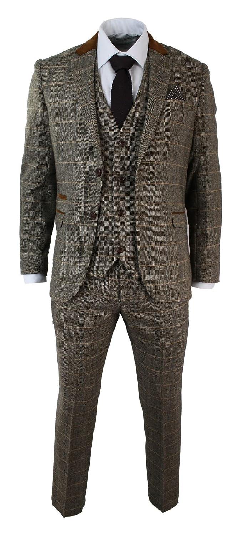Holzbraun marc darcy Herrenanzug Vintage Fischgräte Braun Tweed Optik 3 Teilig Eng Tailliert Hochzeit