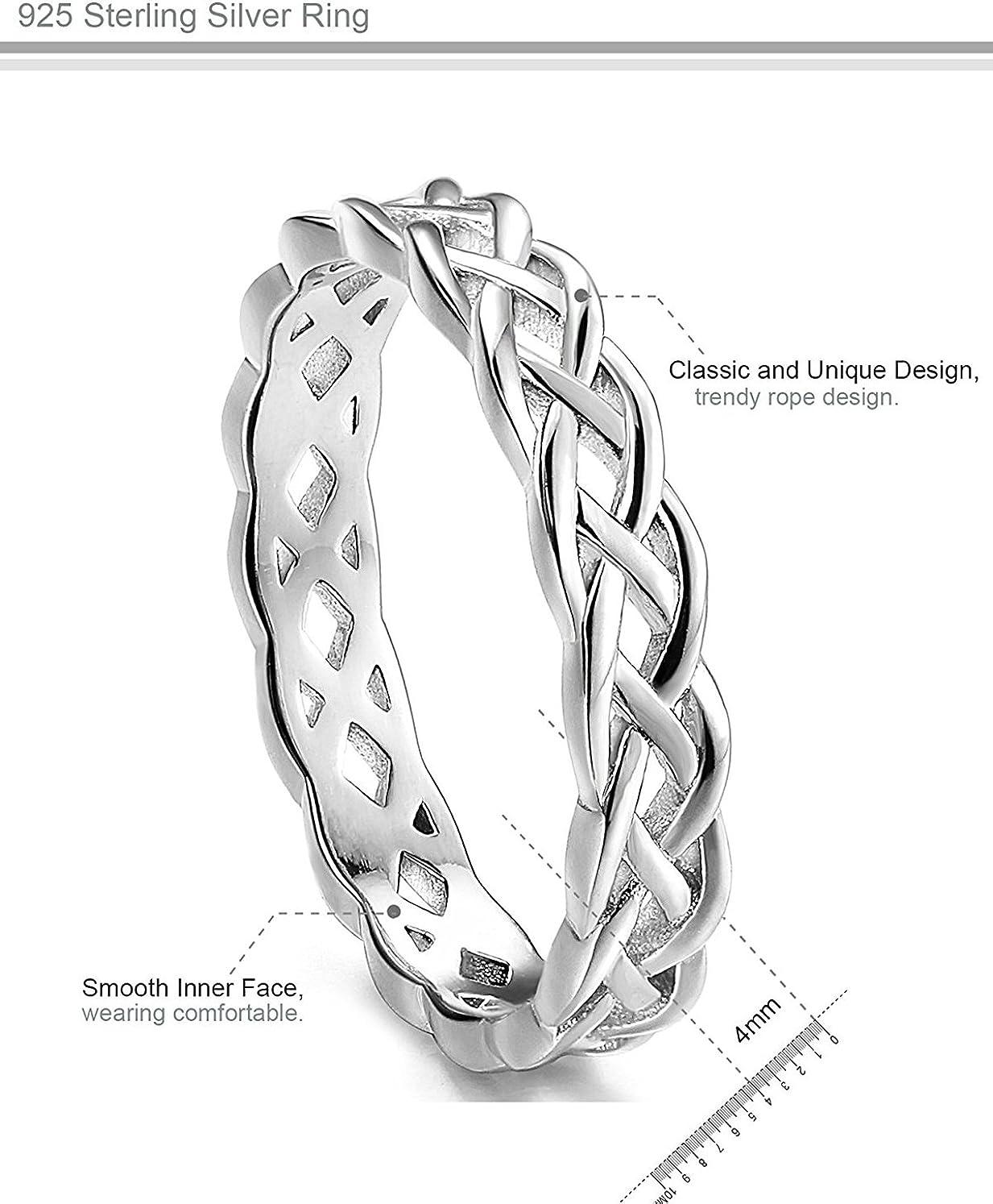 Besteel 4MM 925 Sterling Silver Knot Ring for Women Girls Wedding Bands Celtic Rings Eternity