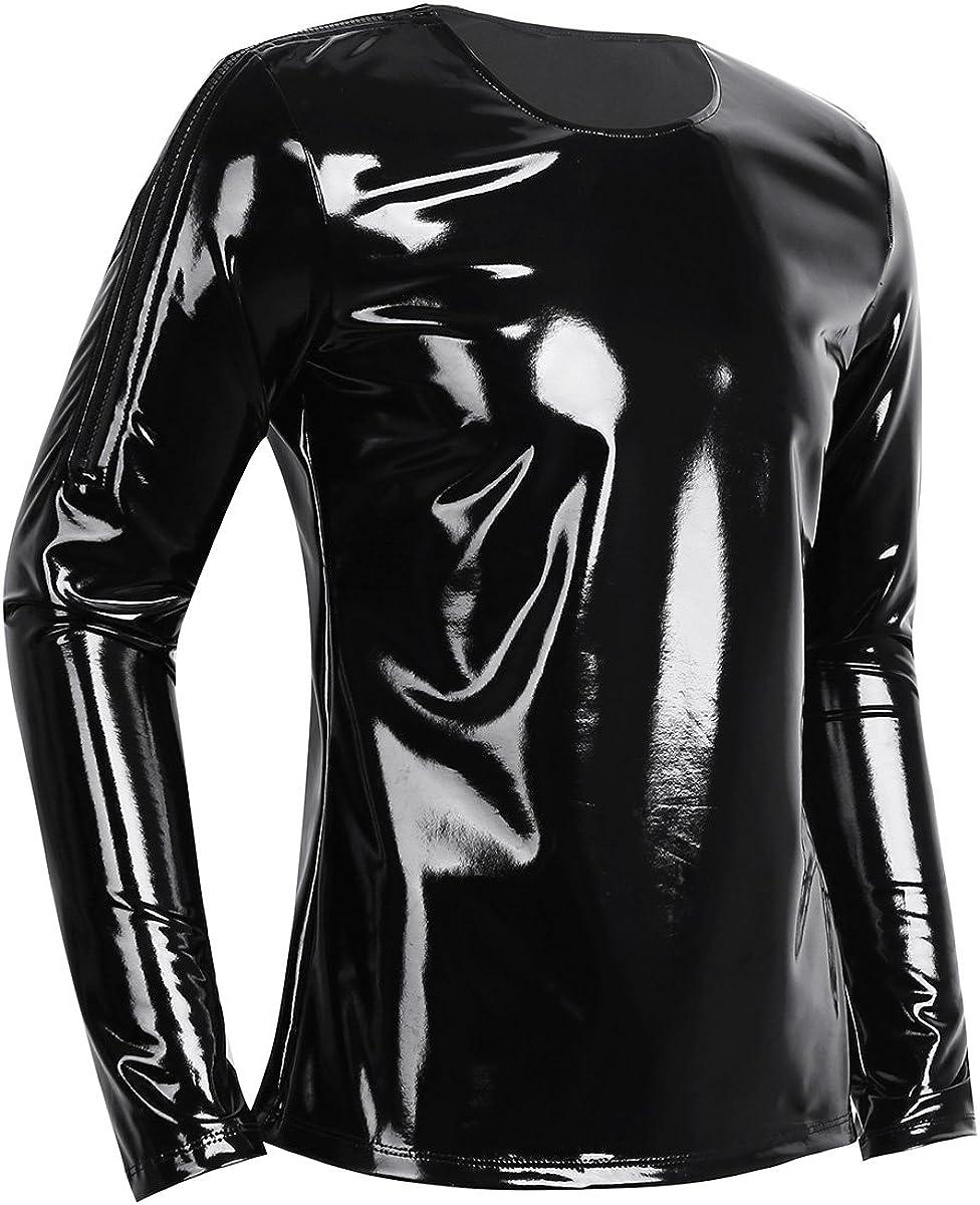 YiZYiF Mens Fashion PVC Leather Wetlook Long Sleeve T Shirt Crew Neck Zipper Muscle Tops