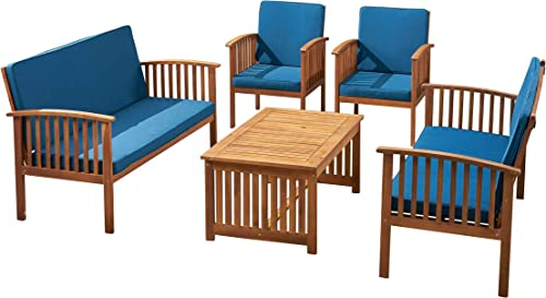 Great Deal Furniture Carol Outdoor Acacia Wood 6 Seater Conversation Set