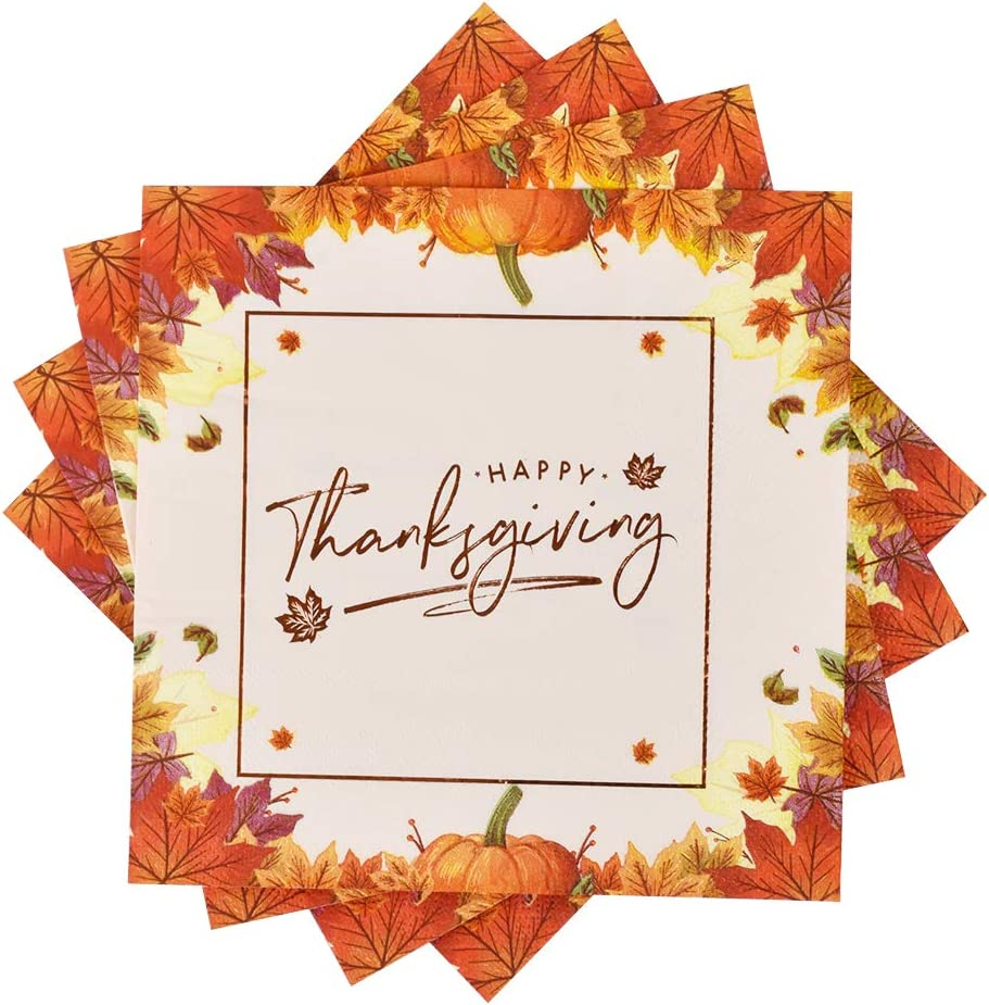 Amazon Com Thanksgiving Disposable Napkins 50pcs For Happy Thanksgiving Dinner Fall Party Cocktail Napkins