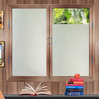 063473bcf7f Amazon.com  Bloss Etched Privacy Window Film Frosted Glass Static Cling Non  Adhesive Window Frost Film for Home Office