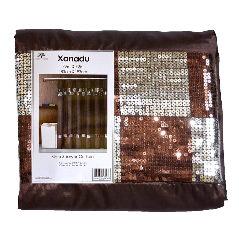 Sinatra silver shower curtain - Amazon Com Chocolate Brown Fabric Shower Curtain W Brown And Silver Sequin Checked Accent Home Kitchen