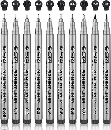 ilustraci/ón dibujo t/écnico dibujo 10 PCS Waterproof Ink Pen Black Pigment Liner para bocetos de arte Gobesty Bol/ígrafos Fineliner Negros c/ómic