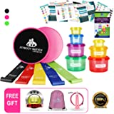 80 Day Obsession Equipment-Resistance Bands(5)& Core Sliders Fitness Discs(2)Set (Booty Bands) With 7pc 21 Day Fix Containers for Portion Control & Weight Loss E-Book Guide (Free Jump Rope & Backpack)
