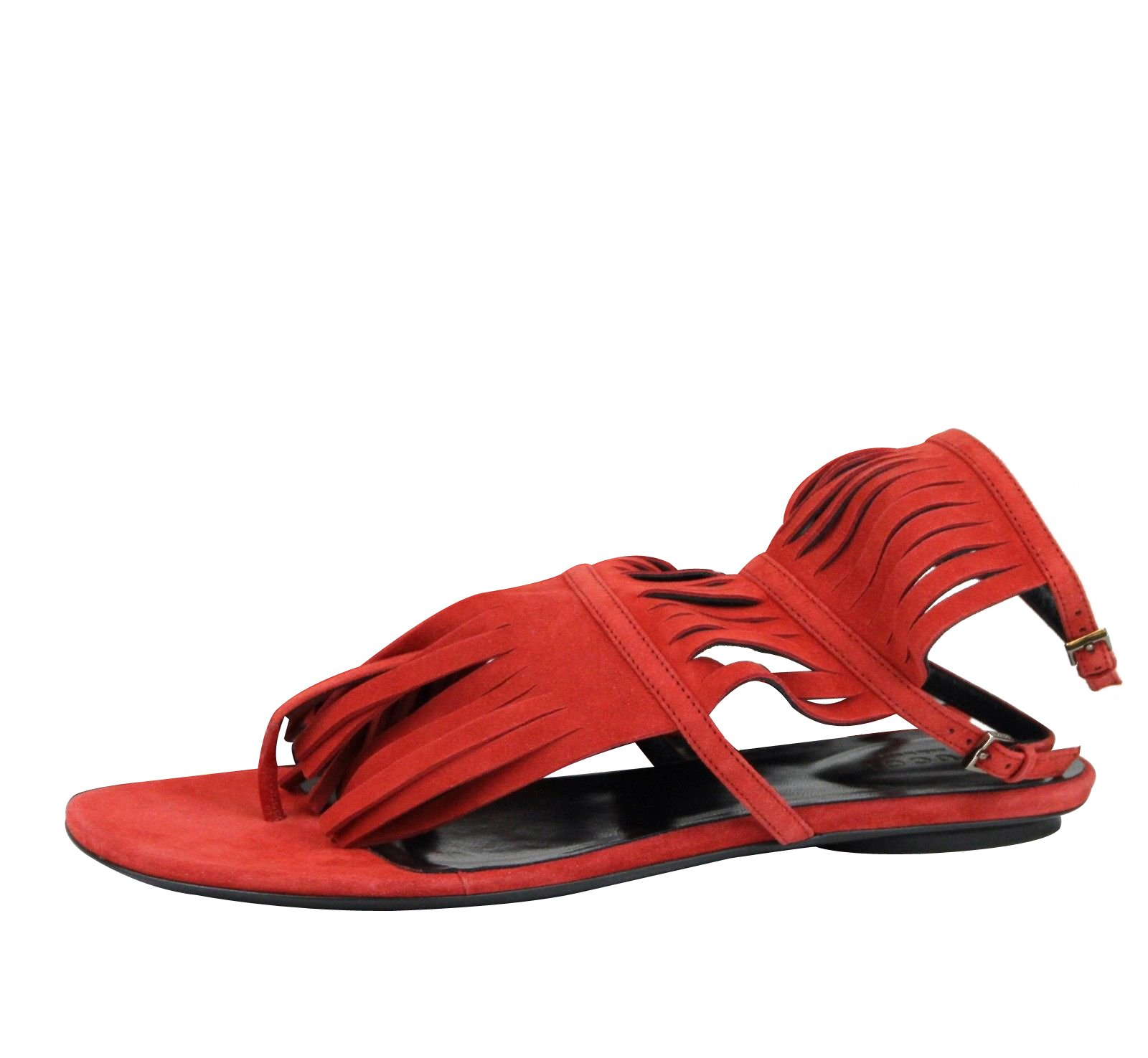 Gucci Red Suede Becky Fringe Thong Gladiator Flat Sandal 347285 6425 (IT 38 / US 8)