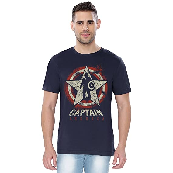 63ed23c6 The Souled Store Marvel: Captain America Guardian of Freedom Superhero  Cotton T-Shirt for