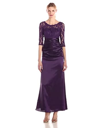 Ever Pretty Womens Elegant Lace Long Sleeve Formal Floor Length Evening Dress 4 US Purple