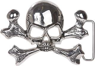 Skull and Cross Bone Pirate Belt Buckle, Shining Silver