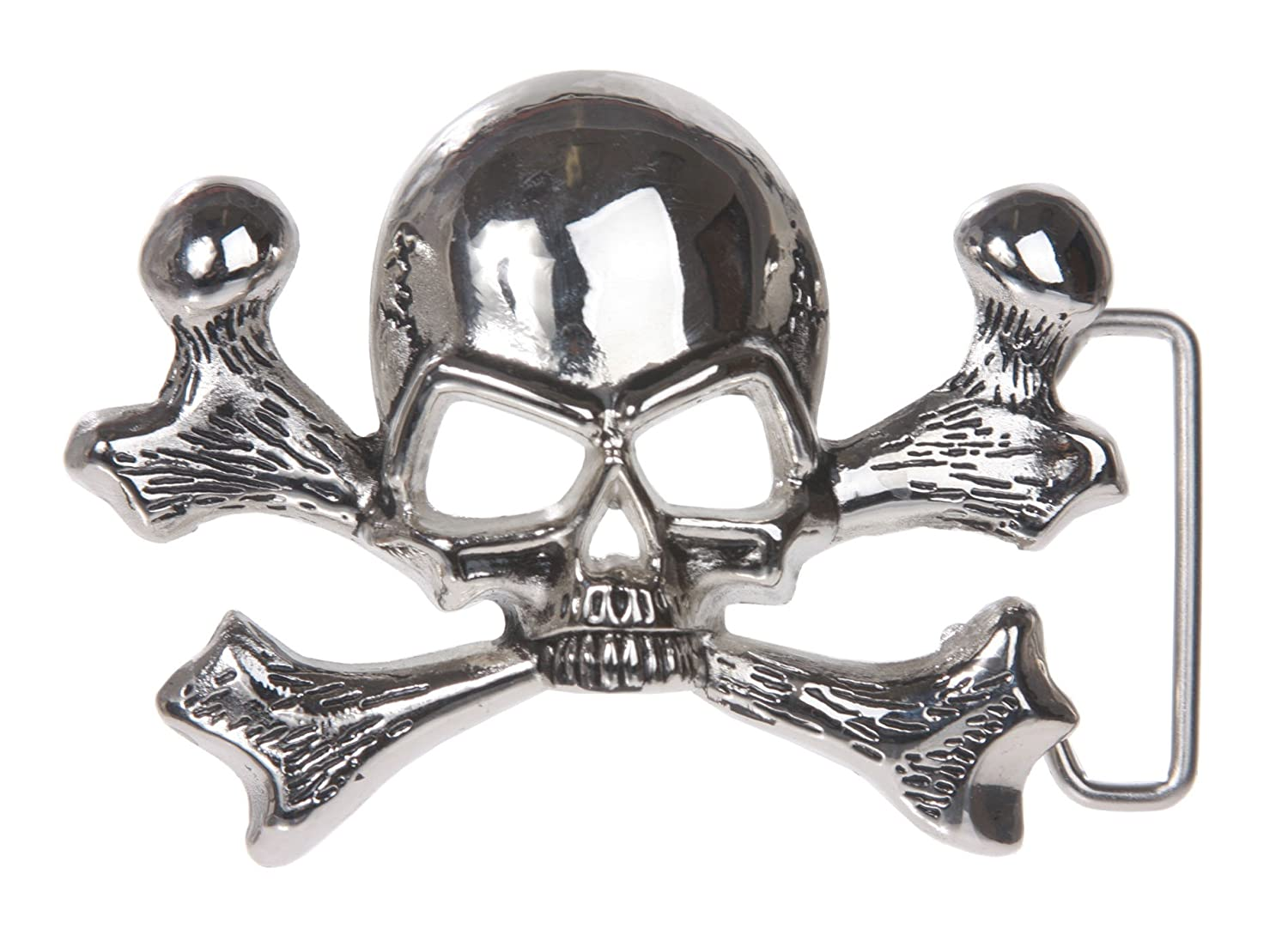 Skull and Cross Bone Pirate Belt Buckle, Shining Silver Beltiscool YF0736:A801