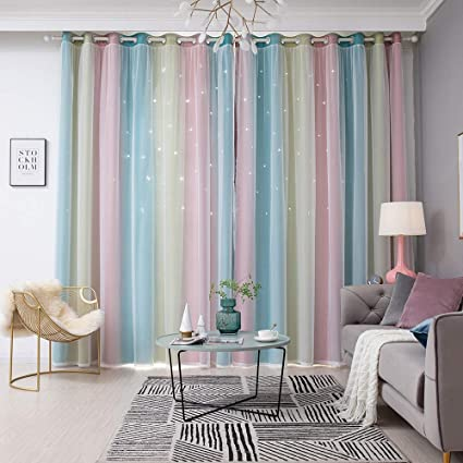 Mewmewcat Blackout Curtains Star Curtains Colorful Double Layer Star Window Curtains For Kids Girls Bedroom Living Room Amazon Co Uk Kitchen Home