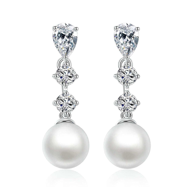Epinki Pearl Earrings Women Earrings with White Cubic Zirconia
