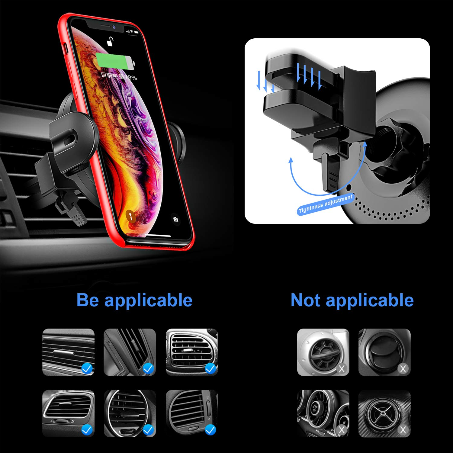 KOAKUMA Wireless Car Charger Mount, Automatic Clamping Car Mount Air Vent Phone Holder with 15W QI Fast Charging Compatible with iPhone X/XS Max/XS/XR/8/8 Plus, Samsung Galaxy S10/S10+/S9/S9+/Note 9/8 by KOAKUMA (Image #6)