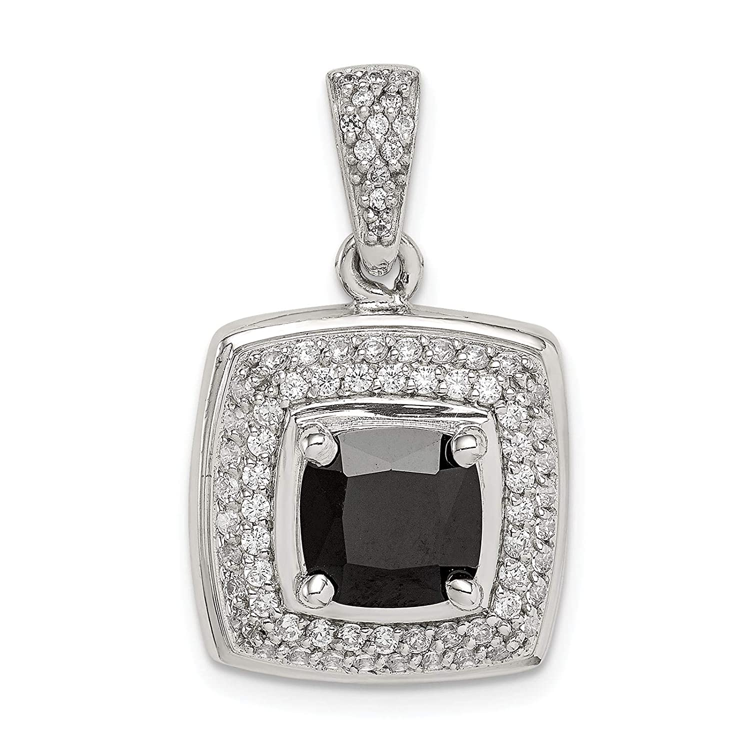 925 Sterling Silver Polished CZ /& Black Onyx Square Charm Pendant