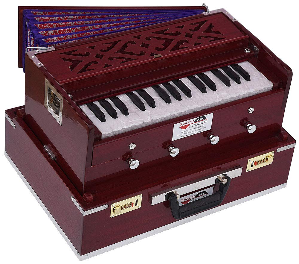 Mini Traveler Harmonium- 2¾ Octave By Kaayna Musicals-Portable, Baja, 4 Stops (2 Drone), Two Set Reed- Bass/Male, Dark Color, Gig Bag, Tuning: 440 Hz, Suitable for Yoga, Bhajan, Kirtan, Mantra, etc.