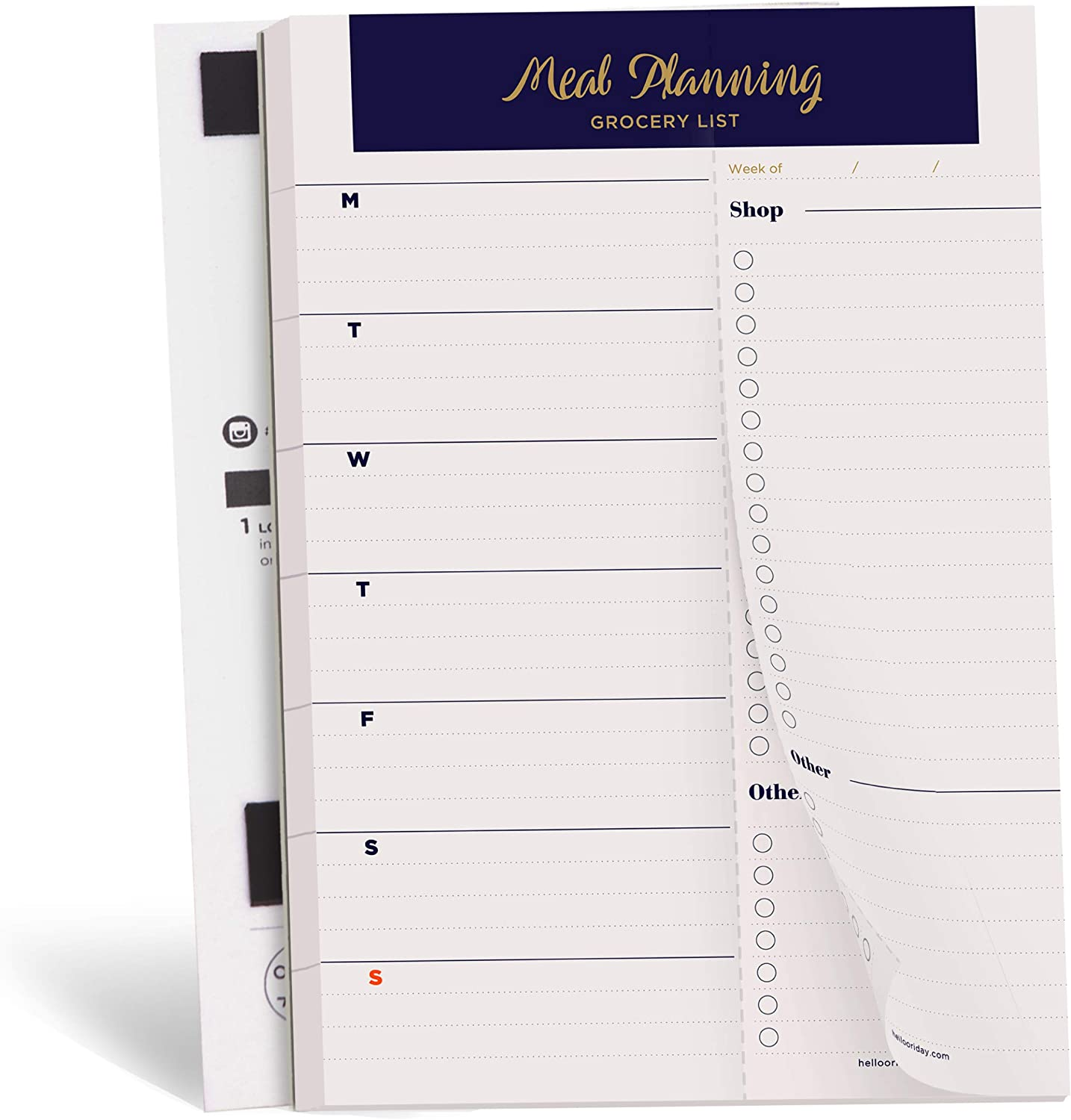 """Oriday Weekly Magnetic Meal Planner Notepad with Tear Off Perforated Grocery Shopping List for Your Fridge - 52 Sheets (6"""" x 9"""" Meal Planning Pad Navy Gold)"""