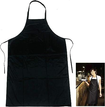 White Black Bib Apron Butcher Apron Pocket Halter Neck Cooking Catering aprons