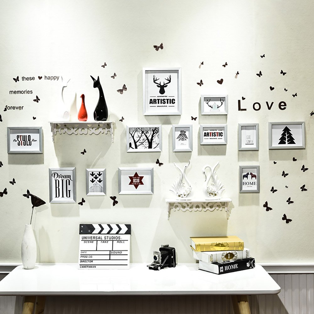 wall photo frames Photo Wall, Nordic Living Room Photo Wall Bedroom Background Wall Bedroom Creative Photo Frame Combination Photo Wall (Color : Silver white)