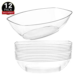 12 Clear Plastic Serving Bowls for Parties | 64 Oz. | Oval Disposable Serving Bowls | Clear Chip Bowls | Party Snack Bowls | Plastic Candy Dish | Salad Serving Containers | Large Candy Bowls