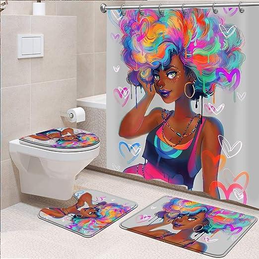 African Woman Purple Shower Curtain Bath Mat Toilet Cover Rug Bathroom Decor