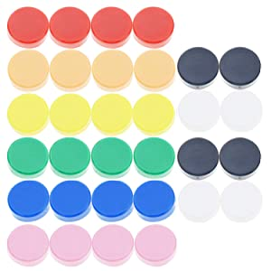 Office Magnets (32 Pack) - Colorful Round, Refrigerator Magnets - Perfect as Whiteboards, Lockers, or Fridge Magnets [Assorted Colors: Red, Blue, Green, Black, Yellow, White,Pink,Orange]