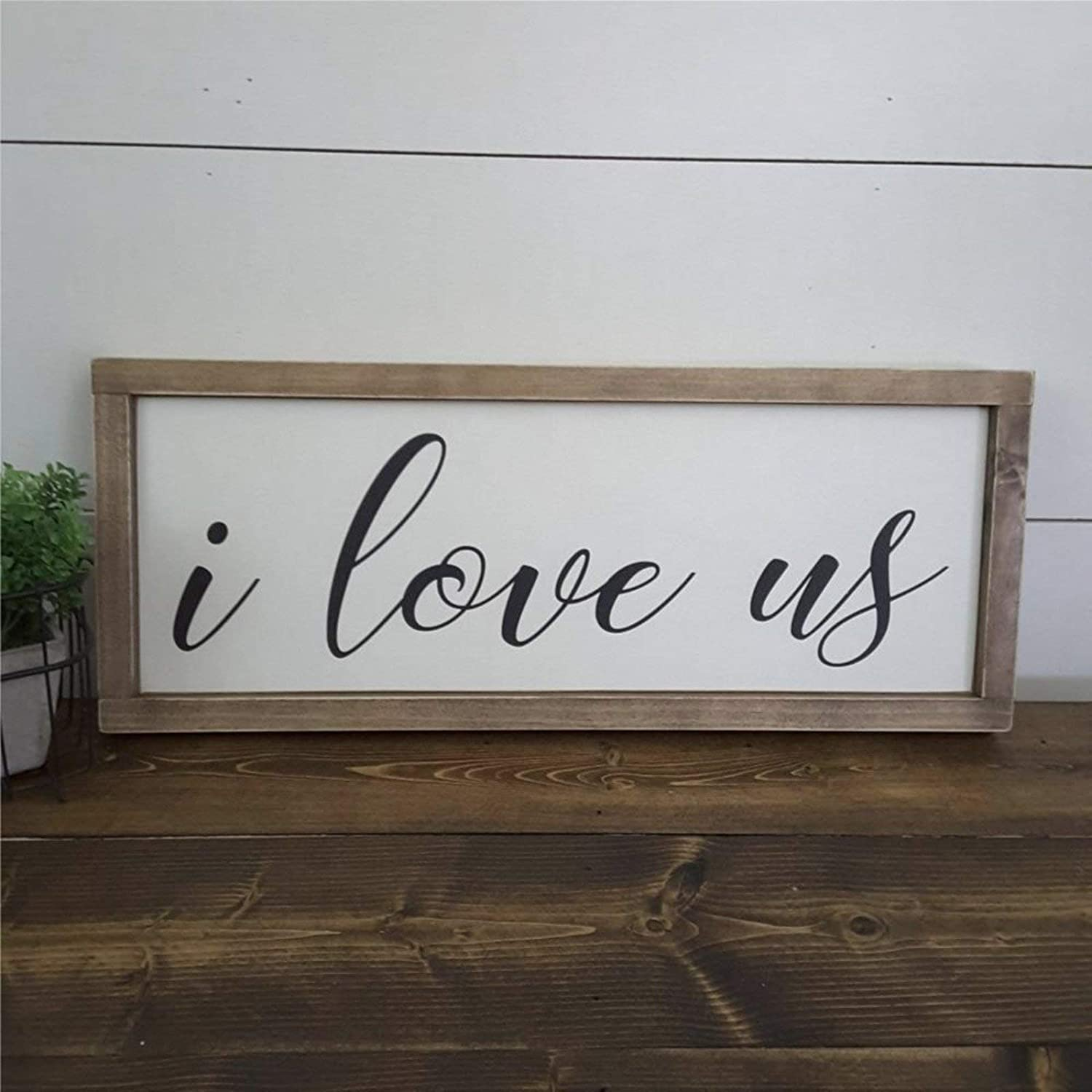 DONL9BAUER I Love You Our Story Wedding Rustic Anniversary for Her Wooden Wall Decor Sign, Framed Wood Sign &Wooden Plaque for Home,Gardens, Porch, Coffee Shops.