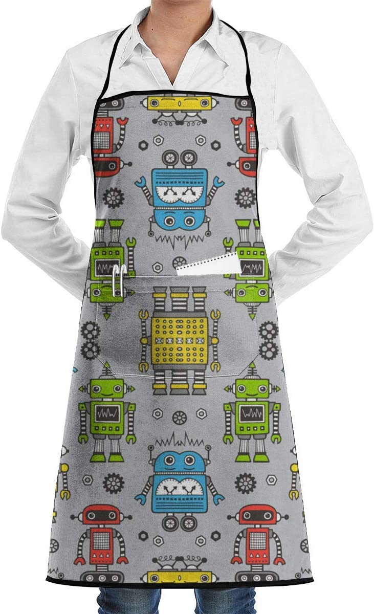 VAICR Cute Robots On Gray Chef Apron Funny Heavy-Duty Delantal ...