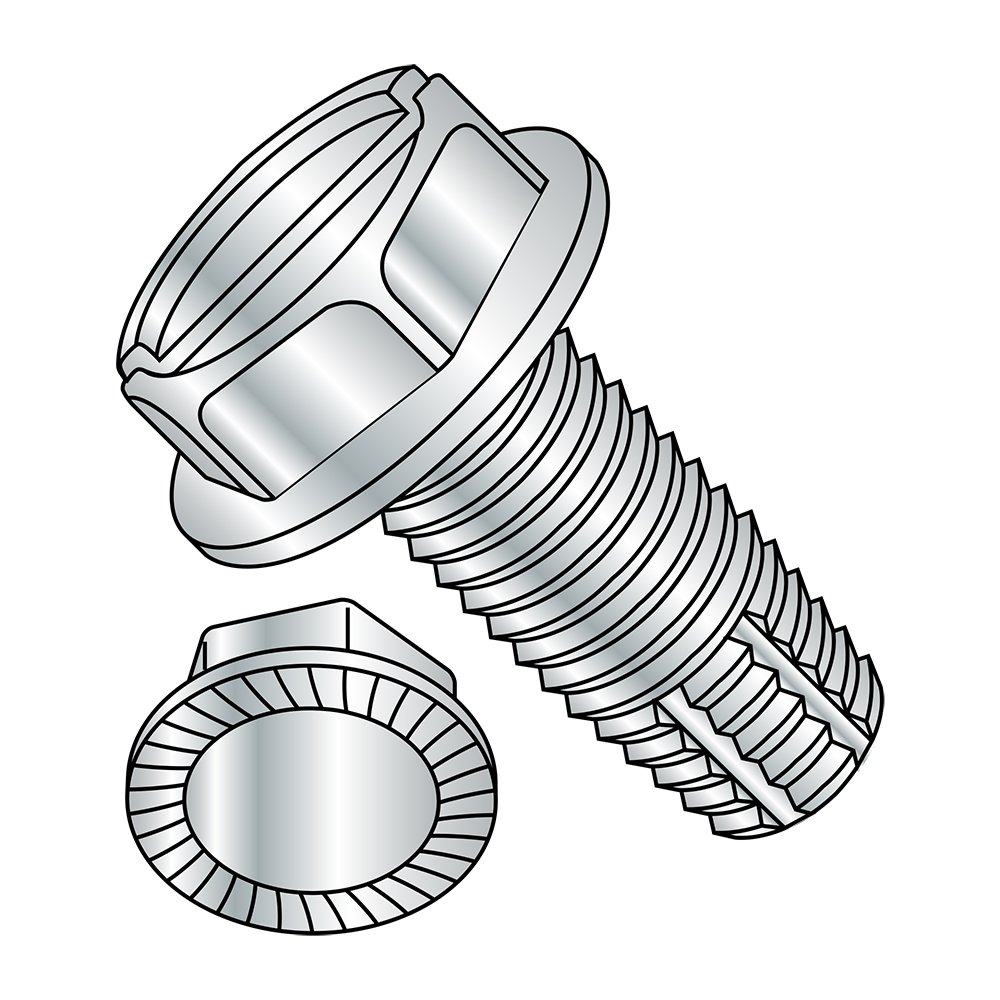 Steel Thread Cutting Screw, Zinc Plated Finish, Serrated Hex Washer Head, Slotted Drive, Type F, 3/8''-16 Thread Size, 1'' Length (Pack of 10)