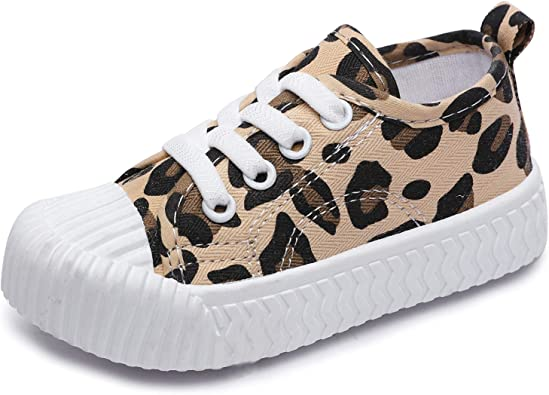Boys Girls Leopard Print Canvas Shoes