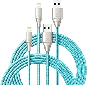 Xcentz iPhone Charger 2 Pack 6ft, Apple MFi Certified Lightning Cable Fast Charger iPhone Cable, Durable Braided Nylon Metal Connector Charger Cord for iPhone 11/X/XS Max/XR/8 Plus/7/6/5, ipad - Blue