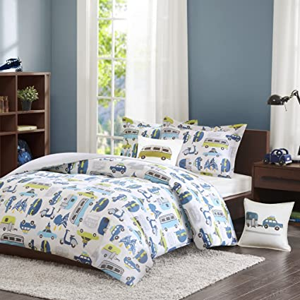 INK+IVY Kids Road Trip Twin Kids Bedding Sets for Boys - White Blue, Car –  3 Pieces Boy Comforter Set – 100% Cotton Kid Childrens Bedroom Comforters