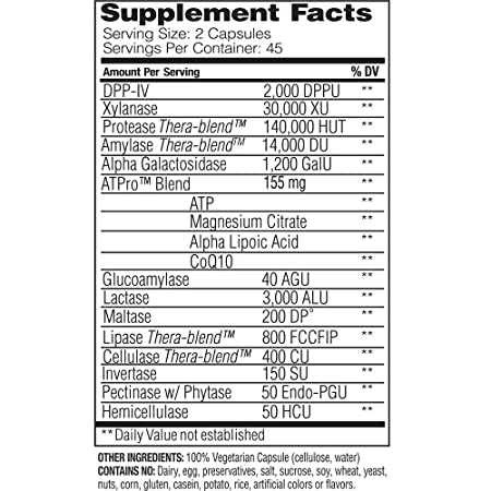 Enzyme Science - Intolerance Complex, Comprehensive Support to Relieve Common Digestive Sensitivities to Dairy, Lactose, Gluten and Casein with ...