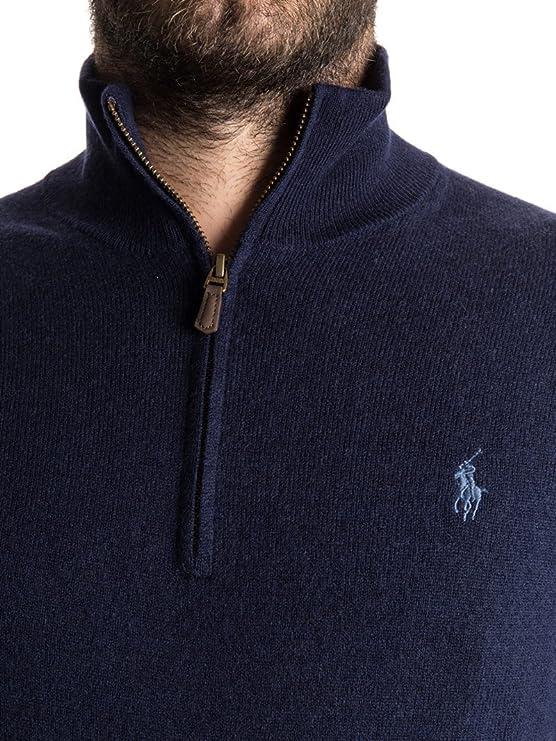 0bb297f8648be Ralph Lauren - Pull ralph lauren bleu foncé col demi zip XXL  Amazon.fr   Chaussures et Sacs