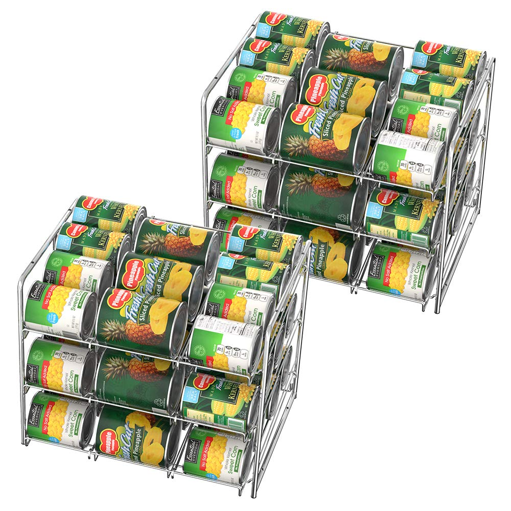 NEX 2 Pack 3 Tier Stacking Can Rack Organizer, Chrome Stackable Can Storage Dispenser Holder for 36 Cans (Each) by NEX