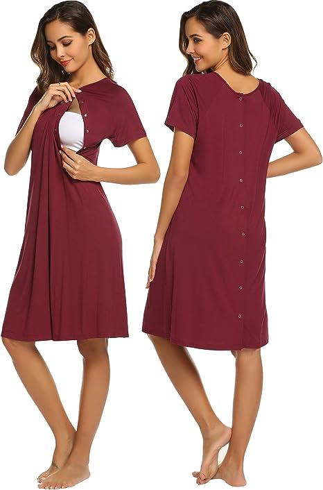 Aibrou Robe de Chambre Allaitement Femme Coton Chemise de Nuit Maternit/é Ete Manches Courtes Chemise Nuit Devant Ouvert