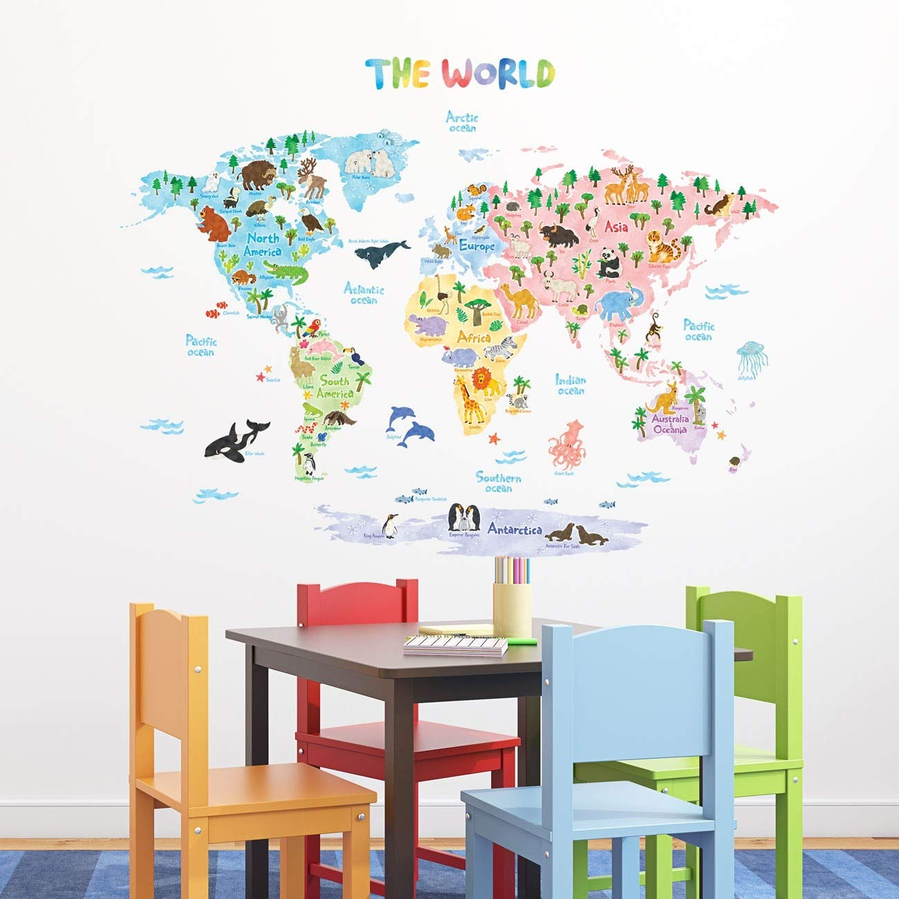 Decowall DLT-1615 Animal World Map Kids Wall Decals Wall Stickers Peel and Stick Removable Wall Stickers for Kids Nursery Bedroom Living Room (XLarge) by Decowall (Image #5)