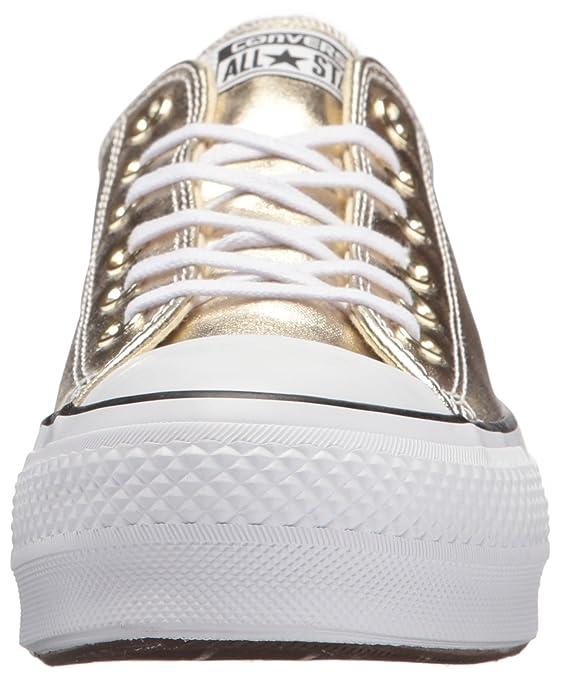 Amazon.com | Converse Womens Chuck Taylor CTAS Lift Ox Canvas Fitness Shoes (Gold/Black/White 743), 5.5 UK 5.5 UK | Fashion Sneakers