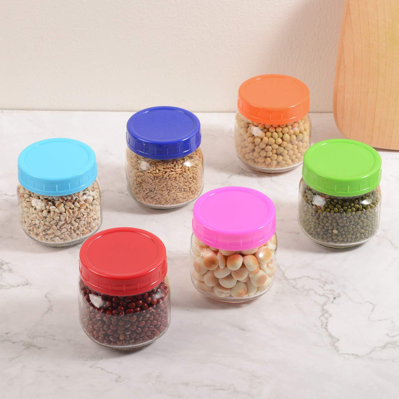 6 Wide Mouth /& 6 Regular Mouth for Ball or Kerr Glass Mason Jars SEEOOR Plastic Mason Jar Lids 12 Pack Leakproof Storage Lids