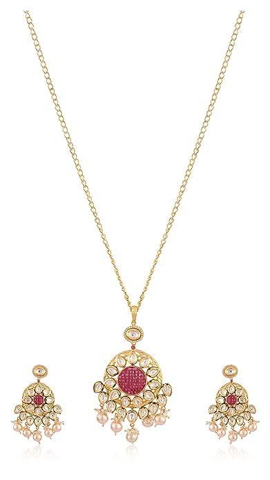 Royal Jewellery Alloy Gold Plated Pink Kundan Pendant Set Amazon